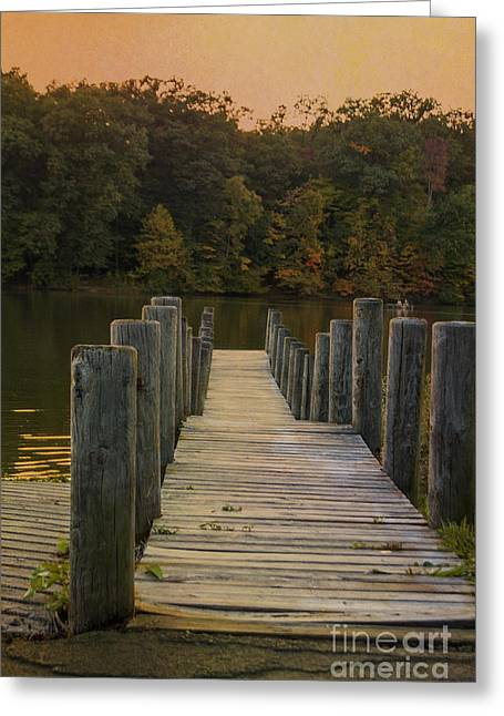 Wooden Platform Greeting Cards - At The Docks End Greeting Card by Janice Rae Pariza