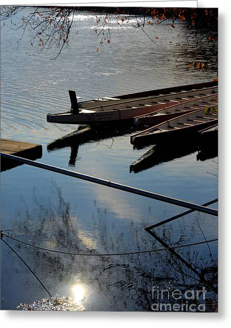Williams Dam Greeting Cards - At the Docks Greeting Card by Mark Ayzenberg