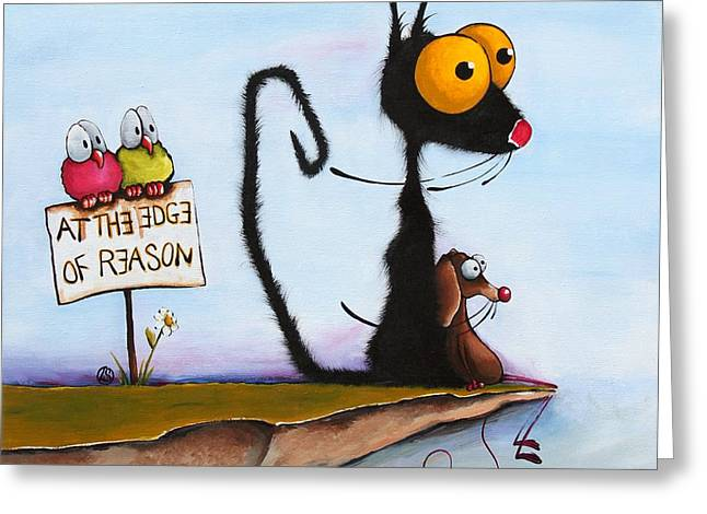 Whimsical Children Greeting Cards - At the Edge of Reason Greeting Card by Lucia Stewart