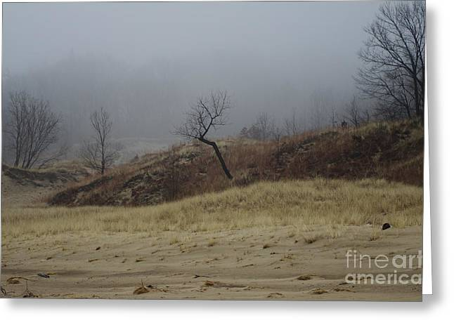 Indiana Dunes Greeting Cards - At the Edge of the Fog Greeting Card by Kitrina Arbuckle