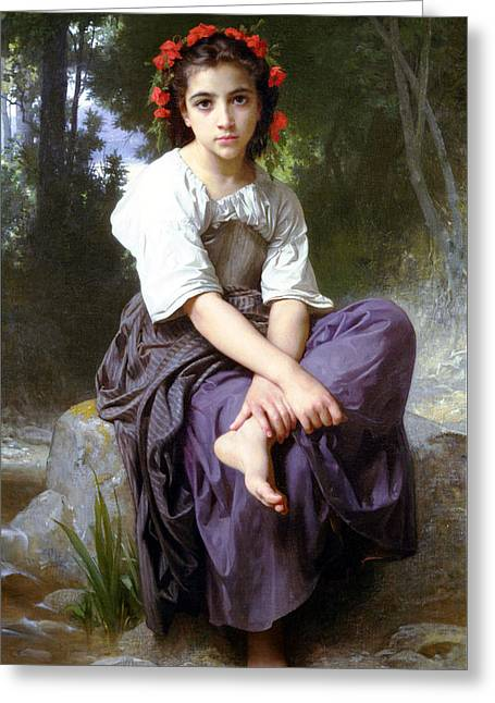 Blue Blouse Greeting Cards - At The Edge of The Rock Greeting Card by William Bouguereau