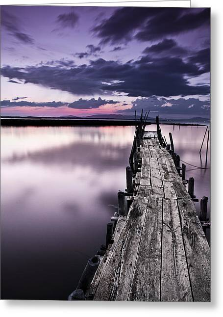 Wood Pier Greeting Cards - At the end Greeting Card by Jorge Maia