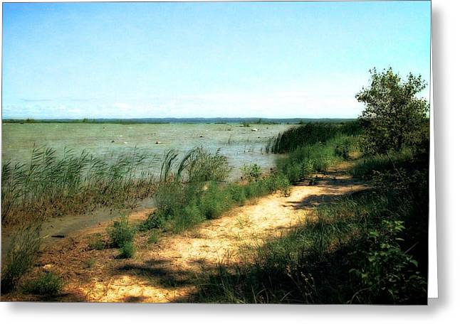 Sandy Point Park Greeting Cards - At the End of Old Mission Peninsula Greeting Card by Michelle Calkins
