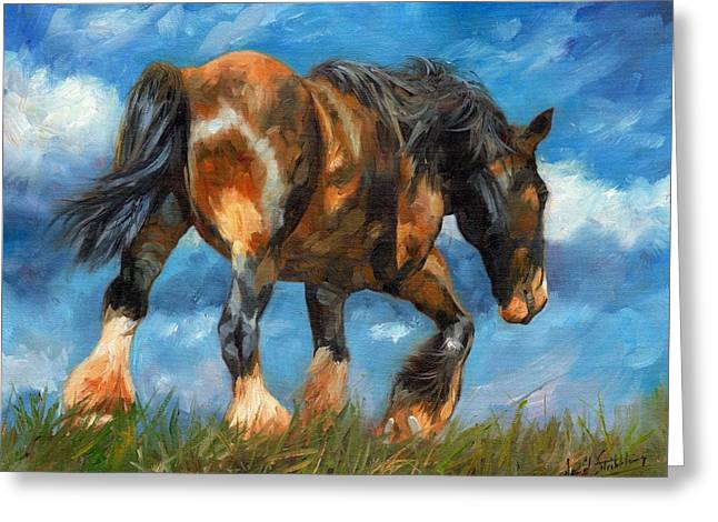Horse Farm Greeting Cards - At The End Of The Day Greeting Card by David Stribbling