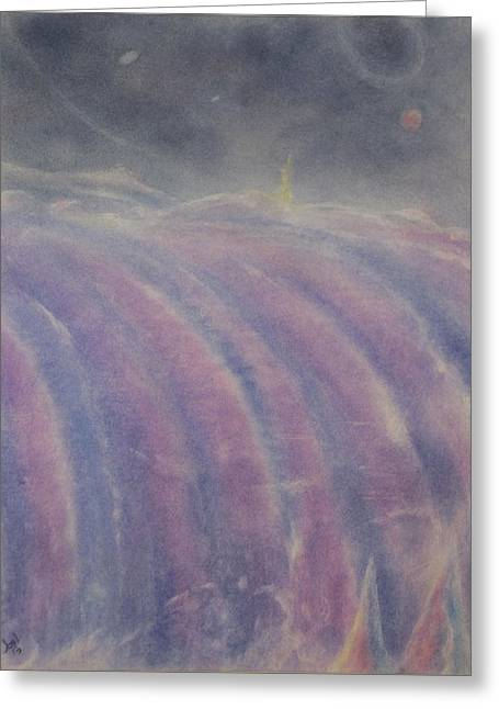 Mystical Landscape Pastels Greeting Cards - At the Falls Greeting Card by Joel Rudin