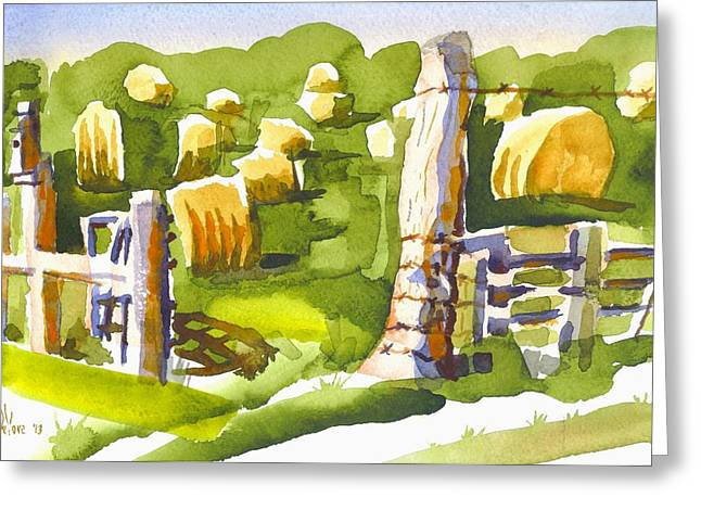 Hay Bales Greeting Cards - At the Farm Baling Hay II Greeting Card by Kip DeVore