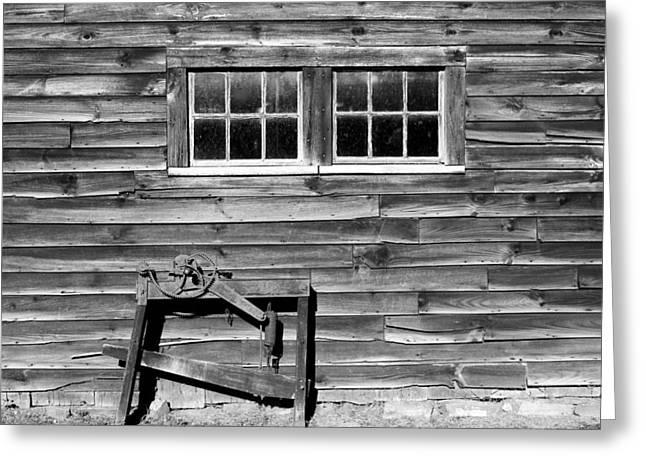 """oldest Wood Building"" Greeting Cards - At the Farmers Market 2 BW Greeting Card by Mary Bedy"