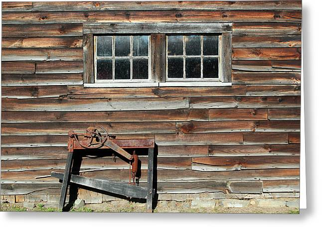 """oldest Wood Building"" Greeting Cards - At the Farmers Market 2 Greeting Card by Mary Bedy"