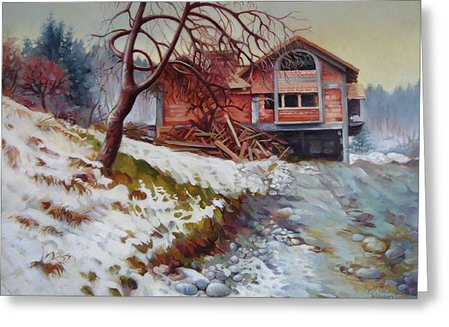 Stone House Greeting Cards - At the forest edge Greeting Card by Elena Oleniuc