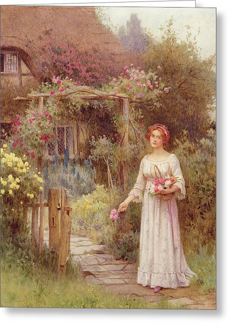 Garden Drawings Greeting Cards - At The Garden Gate Greeting Card by William Affleck