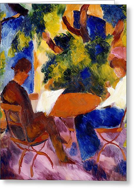 Sun Shade Greeting Cards - At The Garden Table Greeting Card by August Macke
