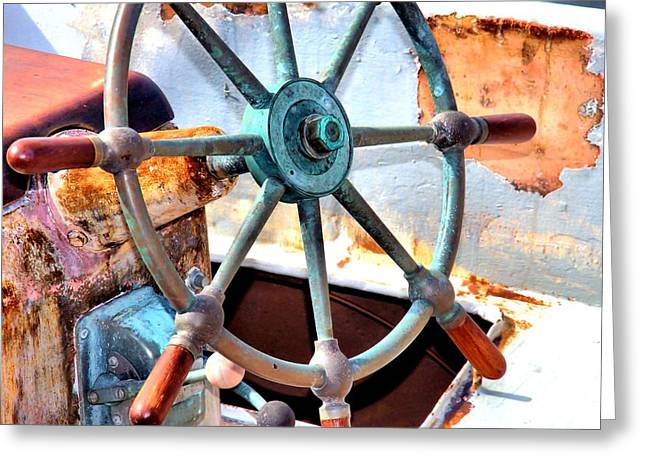Moss Landing Boats Greeting Cards - At The Helm Greeting Card by Bob Wall