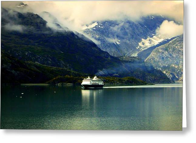 Glacier Bay Greeting Cards - At the Helm of Peace Greeting Card by Karen Wiles
