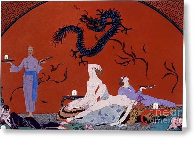 Dragon Lady Greeting Cards - At the House of Pasotz Greeting Card by Georges Barbier