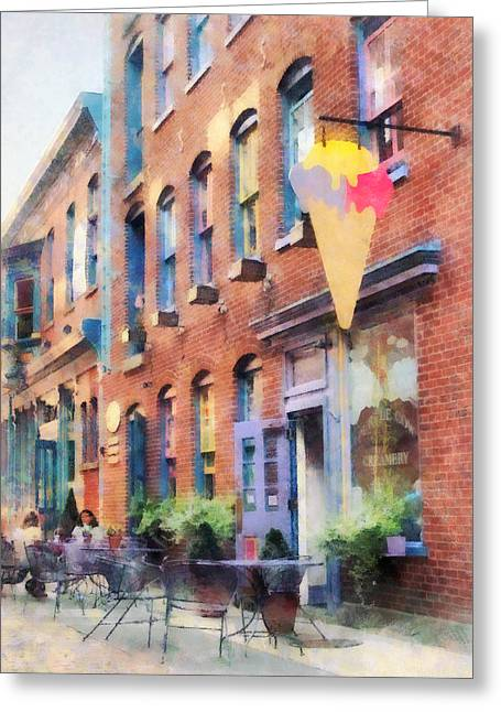 Al Fresco Greeting Cards - At the Ice Cream Parlor Easton PA Greeting Card by Susan Savad