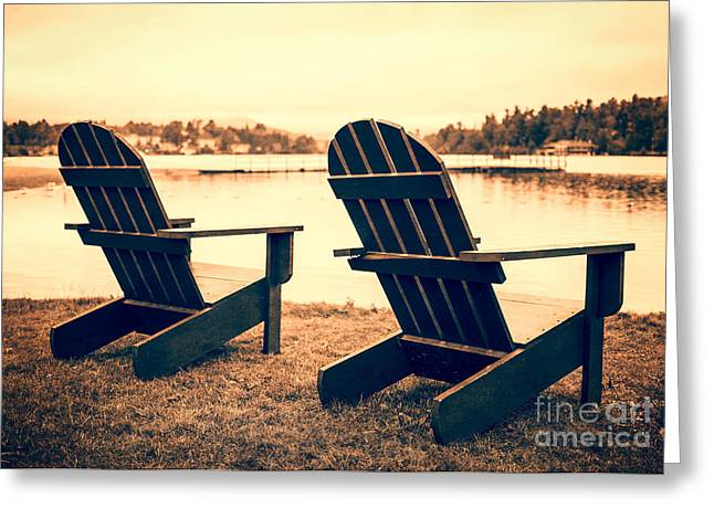 Adirondack Chair Greeting Cards - At the Lake Greeting Card by Edward Fielding