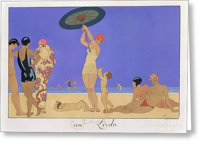 Sexy Women Greeting Cards - At the Lido Greeting Card by Georges Barbier