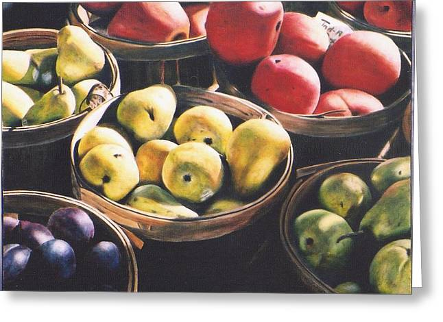 Farm Stand Paintings Greeting Cards - At the Local Farm Stand Greeting Card by Stacy Crane