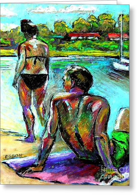 Swimmers Pastels Greeting Cards - At The Marina Greeting Card by Stan Esson