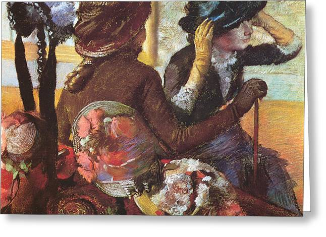 Impressionism Pastels Greeting Cards - At the Milliners  Greeting Card by Edgar Degas