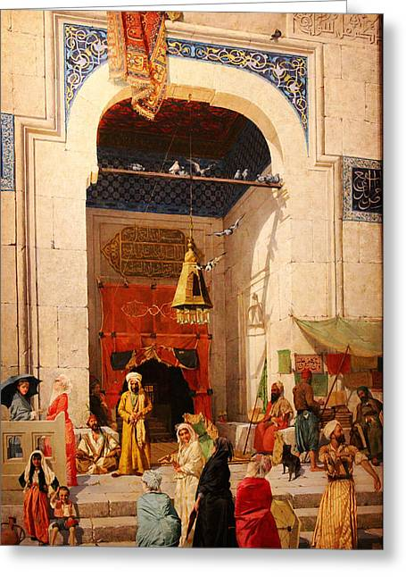 Bey Greeting Cards - At the mosque door Greeting Card by Osman Hamdi Bey