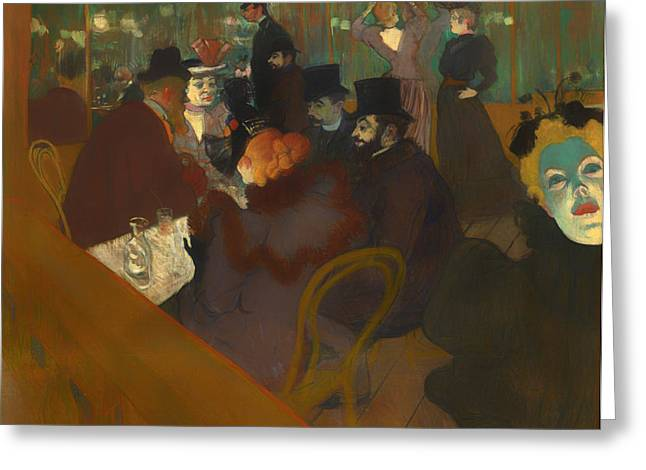 Night Out Paintings Greeting Cards - At the Moulin Rouge Greeting Card by Henri de Toulouse-Lautrec