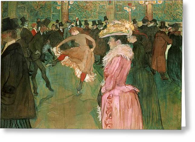 Henri De Toulouse-lautrec Paintings Greeting Cards - At the Moulin Rouge The Dance Greeting Card by Henri de Toulouse-Lautrec
