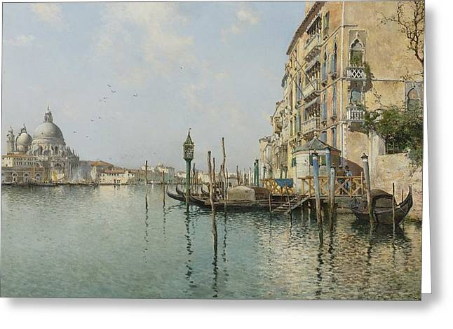 Emilio Greeting Cards - At The Mouth Of The Grand Canal Greeting Card by Emilio Sanchez Perrier