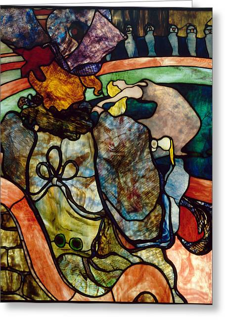 New Glass Art Greeting Cards - At the New Circus. Papa Chrysanthemum Greeting Card by Henri de Toulouse-Lautrec