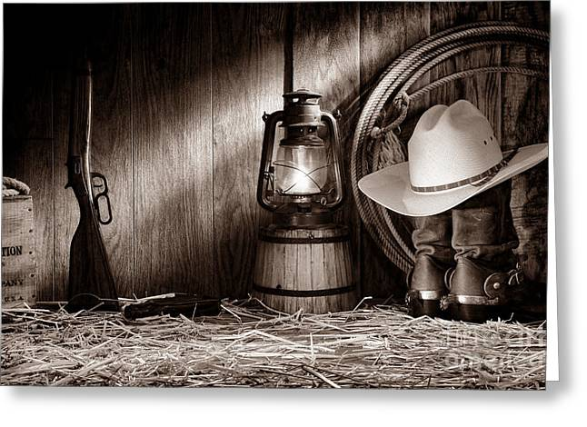 Wood And Leather Greeting Cards - At the Old Ranch Greeting Card by American West Legend By Olivier Le Queinec