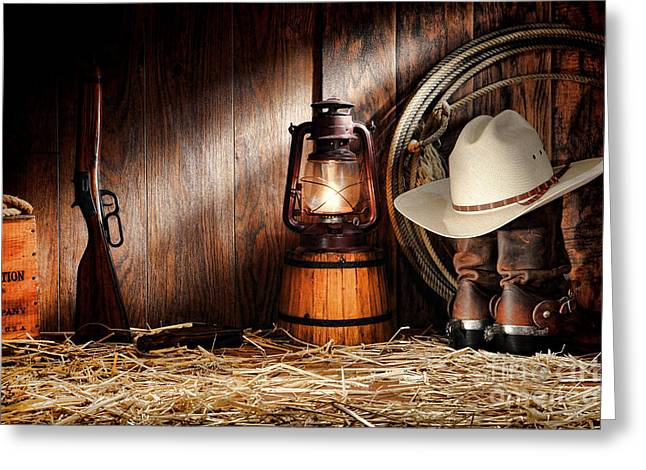 Oil Lamp Greeting Cards - At the Old Ranch Greeting Card by Olivier Le Queinec