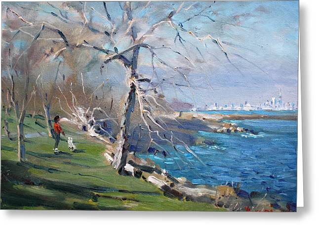 Lake Paintings Greeting Cards - At the park by Lake Ontario Greeting Card by Ylli Haruni
