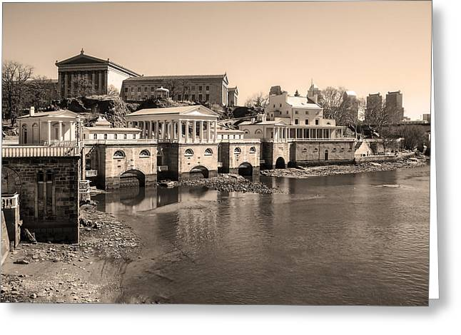 At Work Digital Art Greeting Cards - At the Philadelphia Waterworks in Sepia Greeting Card by Bill Cannon