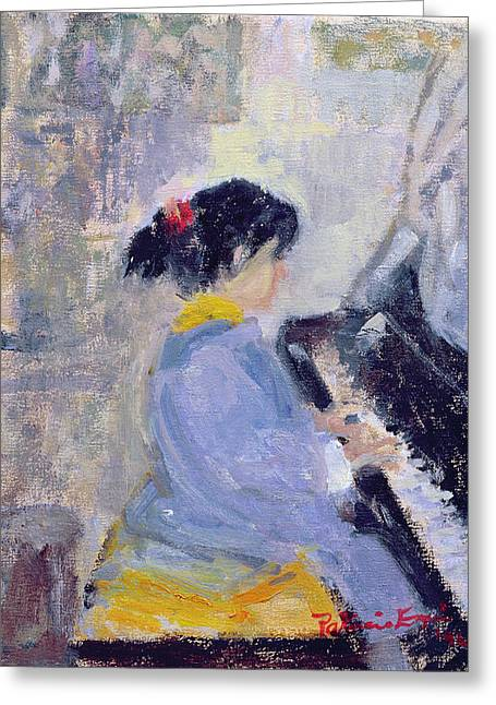 Children Playing Greeting Cards - At The Piano, 1994 Greeting Card by Patricia Espir