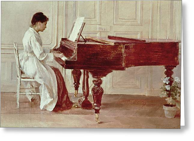 Playing Music Greeting Cards - At the Piano Greeting Card by Theodore Robinson