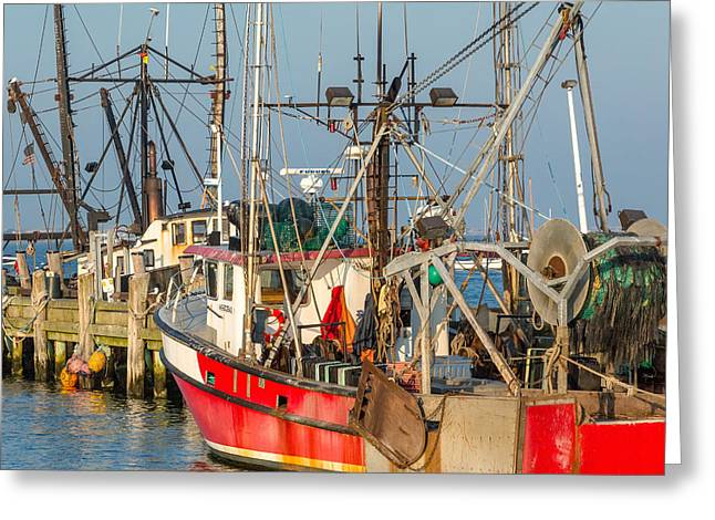 Provincetown Greeting Cards - At the Pier Square Greeting Card by Bill  Wakeley