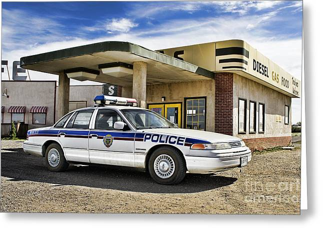 Police Cruiser Greeting Cards - At the Pumps Greeting Card by Nicholas Kokil