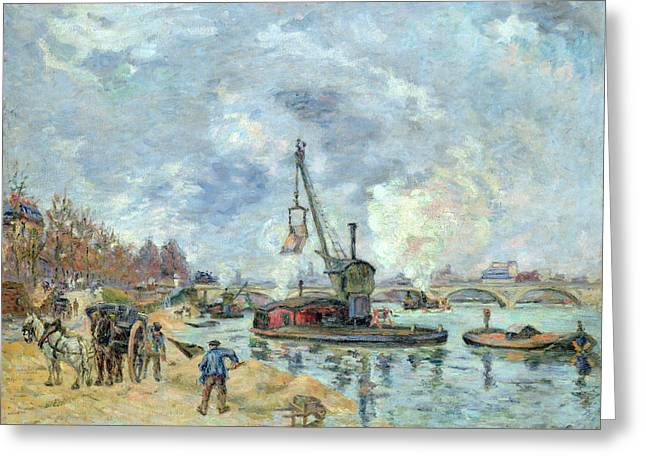 Horse And Carriage Greeting Cards - At the Quay de Bercy in Paris Greeting Card by Jean Baptiste Armand Guillaumin