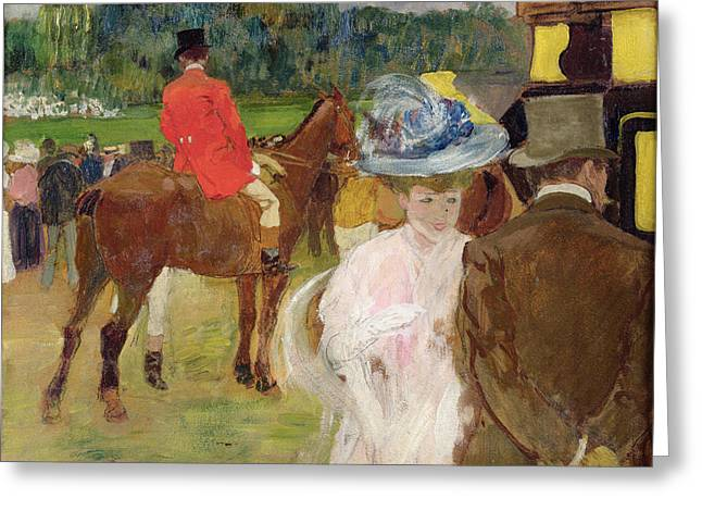 Race Horse Greeting Cards - At the Races at Auteuil Greeting Card by Leon Georges Carre