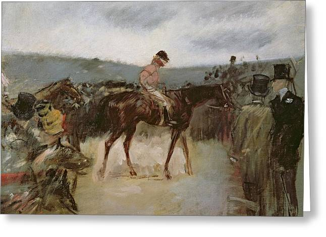 Horse Rider Greeting Cards - At the races Greeting Card by Jean Louis Forain