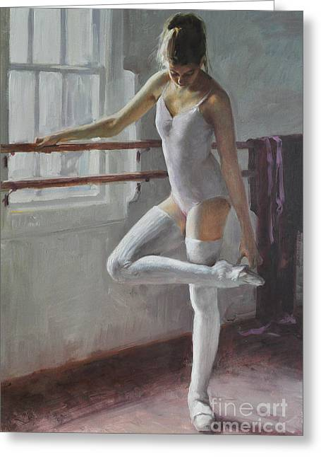 Dancer Rehearsal Greeting Cards - At The Rehearsal  Greeting Card by Dmitriy Kalujni