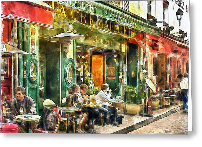 Best Sellers -  - French Open Mixed Media Greeting Cards - At the Restaurant in Paris Greeting Card by Marian Voicu