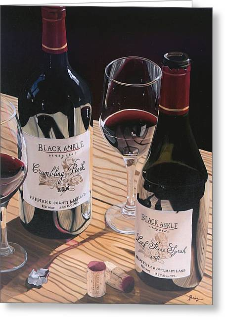 Table Wine Greeting Cards - At The Right Time Greeting Card by Brien Cole