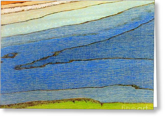 Abstractions Pyrography Greeting Cards - At the Rivers Edge Greeting Card by D Joseph Aho