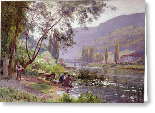 River Paintings Greeting Cards - At The Rivers Edge Greeting Card by Emile Isenbart