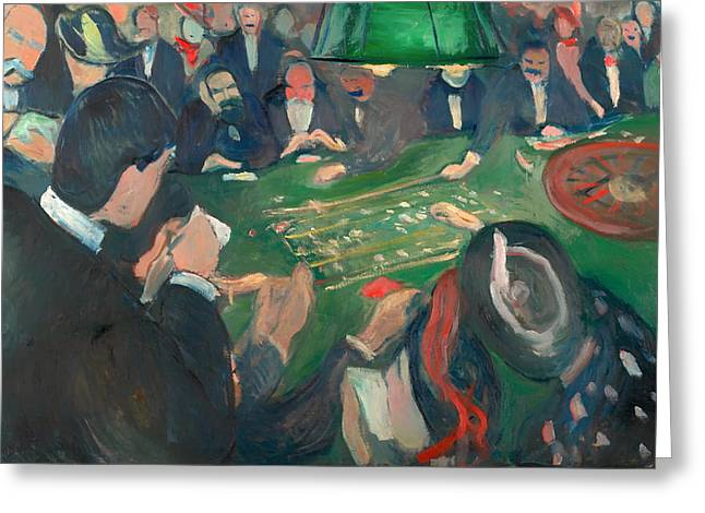 Roulettes Greeting Cards - At the Roulette Table in Monte Carlo Greeting Card by Edvard Munch