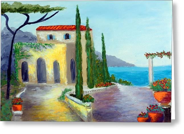 At The Seaside Amalfi Greeting Card by Larry Cirigliano