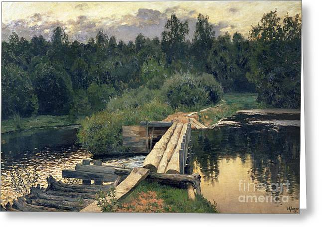 Barriers Greeting Cards - At the Shallow Greeting Card by Isaak Ilyich Levitan
