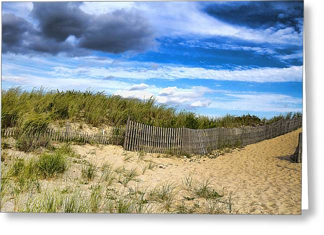 Sand Fences Mixed Media Greeting Cards - At The Shore Greeting Card by Trudy Wilkerson
