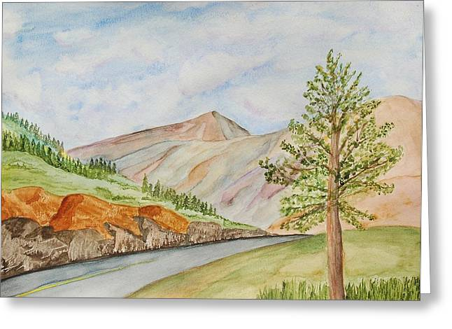Roadway Paintings Greeting Cards - At the Side of the Road Greeting Card by Linda Brody